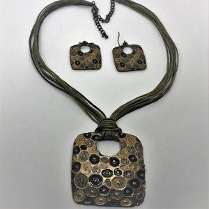 Necklace & Earrings Enamel Brown Black Green Cord